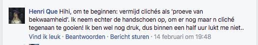 reactie facebook tekstschrijver